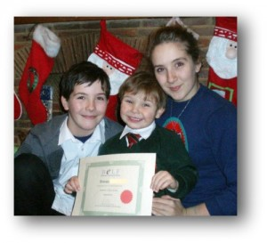 Rowan with his certificate